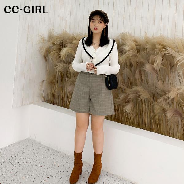 中大尺碼  灰格紋口袋短褲 - 適XL~4L《 69027 》CC-GIRL