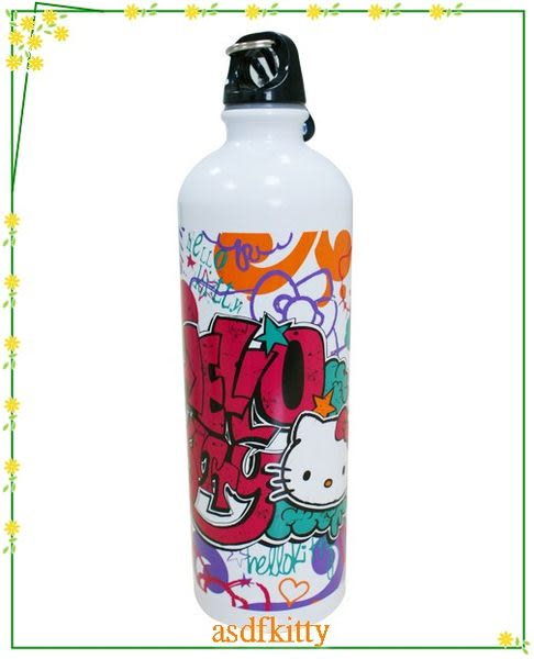廚房【asdfkitty可愛家】KITTY塗鴉版不鏽鋼水壺/運動水壺-750ML不含雙酚A-歐美版正版商品