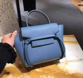 專櫃75折■Celine 珠地小牛皮袖珍型NANO BELT手袋包 瓦灰藍