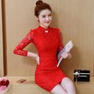 旗袍  新款修身顯瘦打底蕾絲紅色連衣裙女...