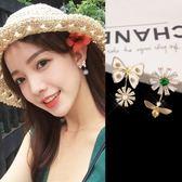 感恩聖誕 S925純銀針花朵蜜蜂耳釘女氣質韓國個性簡約耳墜不對稱耳環耳飾品
