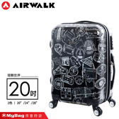 AIRWALK 環郵世界 行李箱 20吋 黑色 精彩歷程 拉鍊硬殼行李箱 A615371020 MyBag得意時袋