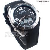 Kenneth Cole 個性魅力 雙顯錶 電子錶 多功能 計時碼錶 男錶 橡膠錶帶 RK50599003