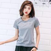 2019春夏短袖運動上衣女緊身顯瘦瑜伽服健身房跑步速干T恤高彈