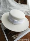 熱賣平頂帽羊毛呢帽子女夏天白色羊毛帽平頂大沿禮帽英倫復古爵士帽 coco