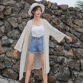 (工廠直銷不退換)1067蕾絲空調衫防曬衣2019夏季新款披肩中長款外套寬松薄款G-529 韓依戀