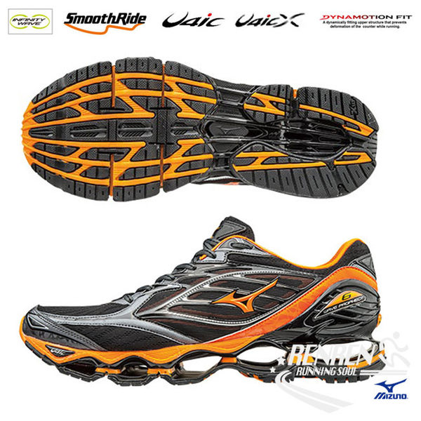 美津濃 MIZUNO 男慢跑鞋 (黑/橘) WAVE PROPHECY 6 波浪片頂級鞋款【 胖媛的店 】