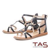 ★2018春夏新品★TAS羅馬風素面長型金屬後包涼鞋-實搭黑