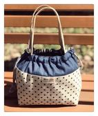 日韓風環保帆布可愛時尚手提抽繩束口飯盒袋便當包收納袋「多色小屋」