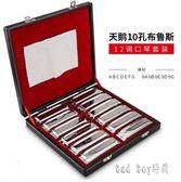10孔布魯斯口琴 全音階藍調十孔 12調套裝ABCDEFG調口風琴 rj2626【bad boy時尚】
