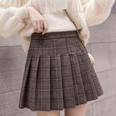 毛呢短裙 秋裝新款正韓毛呢裙格子百褶半身裙女顯瘦高腰A字短裙泫雅風-Ballet朵朵