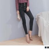 《BA6022-》韓系高腰造型剪裁排釦設計刷色窄管牛仔褲 OB嚴選