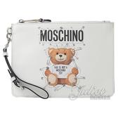 茱麗葉精品【新進品牌 獨家價】MOSCHINO 7A8421 立體迴紋針泰迪熊手提萬用包手拿包.白