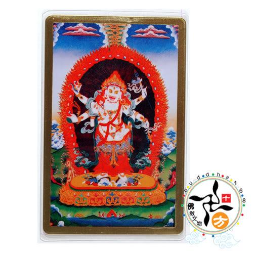六臂白瑪哈嘎拉彩繪銅卡 +懷攝咒輪(諸事圓滿)貼紙(2張)【十方佛教文物】