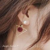 韓版 珍珠 耳環。AngelNaNa  圓圈圈 垂墬 三角 毛球 耳環 耳釘(SRA0004)