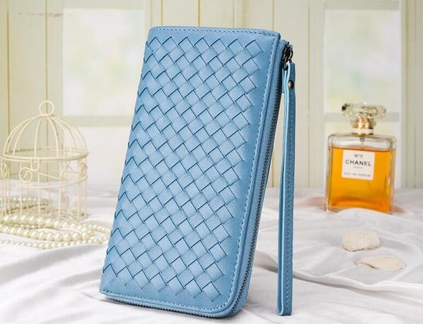 手拿包 2017新款歐美拉鏈女士錢夾羊皮編織皮夾長款錢包真皮手機包手拿包