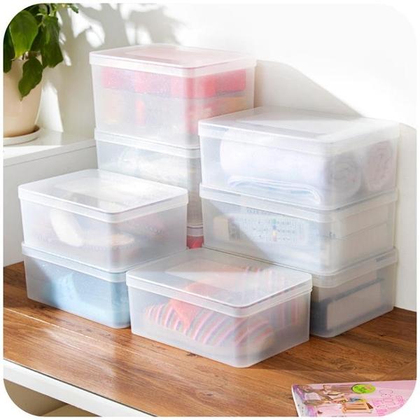 [超豐國際]透明塑料有蓋收納盒衣柜箱子 衣服收納箱整理箱小號儲物