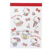 〔小禮堂〕Hello Kitty 日製迷你方形便條本《紅白.物品滿版》便條紙.留言紙 4901770-58322