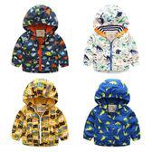 寶寶卡通沖鋒衣秋裝新款男童童裝兒童連帽拉鏈衫外套