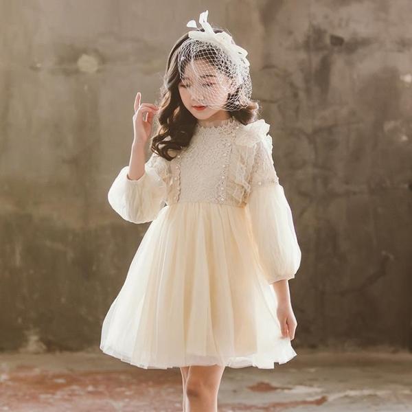 蕾絲洋裝 2019新款網紅童裝洋氣正韓加絨蕾絲網紗兒童公主裙【全館免運】