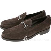 TOD'S Double T Mocassino 麂皮豆豆紳士鞋(男鞋/深咖色) 1810542-C7