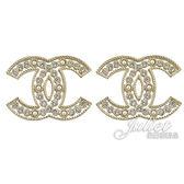 茱麗葉精品【專櫃款 全新現貨】CHANEL AB0640 大雙C LOGO 水鑽珍珠鑲嵌鏤空型耳環.金
