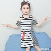 女童連身裙夏季2019新款韓版兒童寬鬆短袖洋裝中大童長款T恤衫裙子女洋LZ2332【甜心小妮童裝】