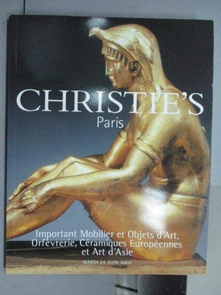 【書寶二手書T3/收藏_PNG】Christie s_Important Mobilier et Objets…2003