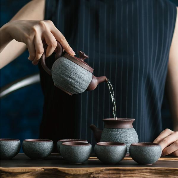 陸寶【原礦岩藏 觀海茶組 】一壺一海六杯 獨特工藝釉面 典藏木盒
