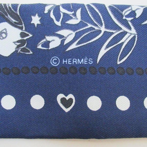 HERMES 愛馬仕 深藍底白色圖樣絲質絲巾 Twilly Scarf 【二手名牌BRAND OFF】