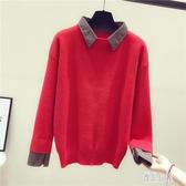 秋季新款假兩件毛衣女針織外套韓版寬鬆襯衫領套頭打底衫上衣 XN6283【優品良鋪】