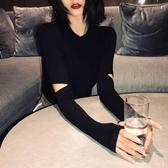 2020年秋季新款韓版黑色破洞長袖t恤女修身針織打底衫內搭上衣服 【雙十二下殺】