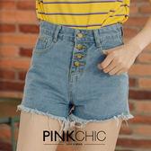 短褲 四釦鬚鬚牛仔丹寧短褲 - PINK CHIC - 22907