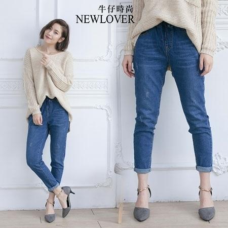 男友褲NEWLOVER牛仔時尚【161-6181】鬆緊腰藍色綁帶顯瘦S-XL