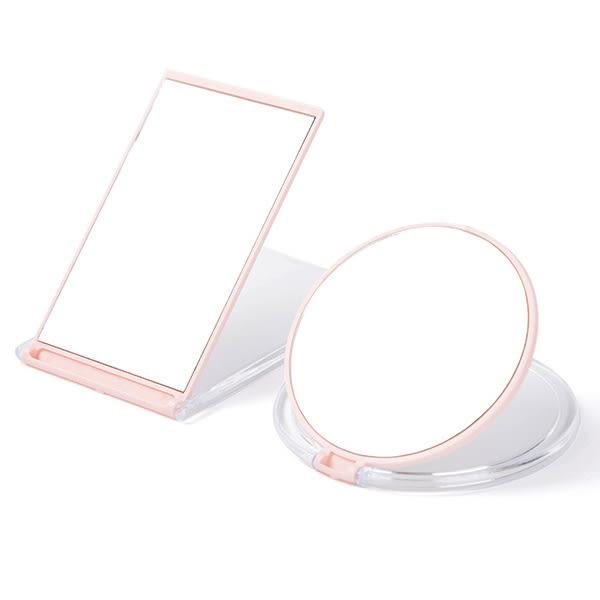 鏡子折疊式隨身鏡 一入 方形/圓形 顏色隨機 桌面立鏡 化妝鏡【YES 美妝】