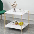 北歐鐵藝床頭柜床邊小桌子簡易雙層置物架收...