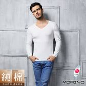 【MORINO摩力諾】時尚保暖長袖棉毛V領衫