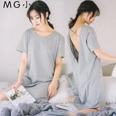 睡衣 純棉性感露背大碼寬鬆睡裙睡衣