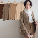 現貨-MIUSTAR 小波浪紋捲編排釦圓領混絨針織外套(共4色)【NH3638】預購