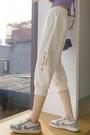 七分褲女寬鬆運動褲女夏季薄款短褲休閒純棉馬褲跑步五分中褲束腳 果果輕時尚