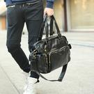 單肩包 pu皮潮男包斜挎包休閒男士手提包大容量旅行背包行李包  快速出貨