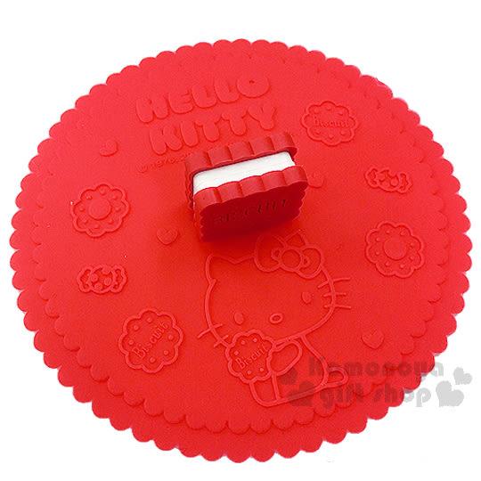 〔小禮堂〕Hello Kitty 造型矽膠杯蓋《紅.夾心餅乾.坐姿.糖果》可愛又實用 4718733-20744
