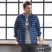 【JEEP】海洋風格紋長袖襯衫 (海軍藍)