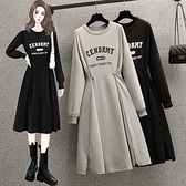 大碼長袖洋裝 禮服 連身裙L-4XL18411胖mm時尚收腰顯瘦長袖連身裙印花衛衣裙子4F093 胖妞衣櫥