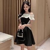 一字領洋裝 主播連身裙小禮服短款甜美性感一字肩黑白拼接公主裙成年蓬蓬裙