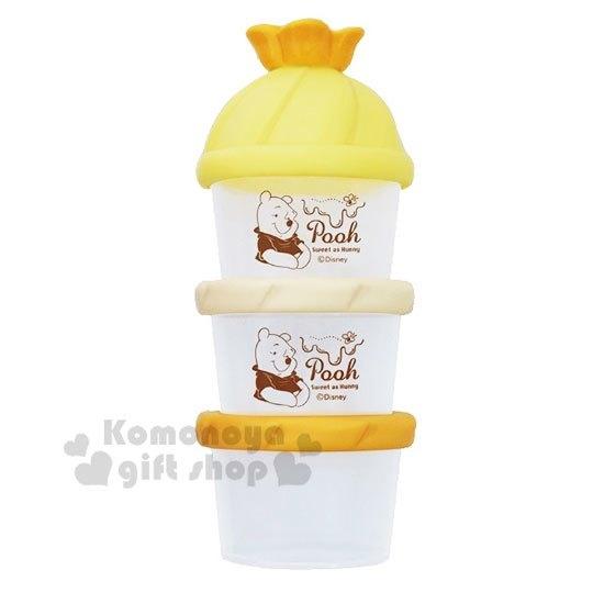 〔小禮堂〕迪士尼 小熊維尼 日製造型蓋塑膠三層奶粉罐《橘黃》奶粉盒.食物盒.餅乾盒 4904121-36401