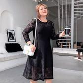 大碼女裝胖mm春裝2019新款胖女人顯瘦遮肚200斤蕾絲連身裙