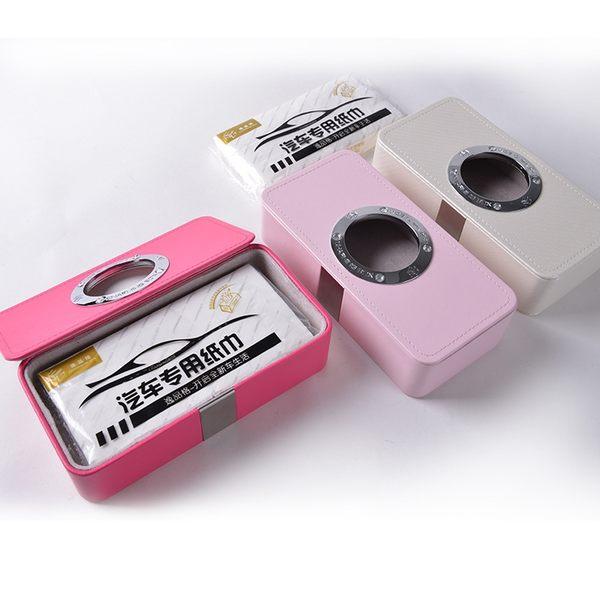 強磁自動吸頂紙巾盒 車載簡約皮革汽車抽紙巾 多色汽車吸頂紙巾盒 sp02108米莎 misha