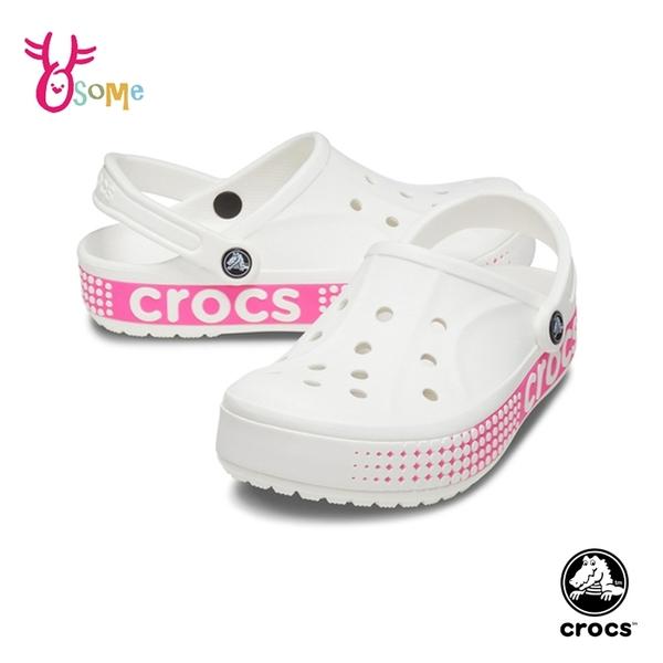 Crocs卡駱馳洞洞鞋 女鞋 園丁鞋 智必星 防水布希鞋 涼拖鞋 一鞋兩穿 A1772#白粉◆OSOME奧森鞋業