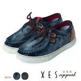 男鞋 休閒鞋 率性寬楦 麂皮刷皮 XES 綁帶 休閒鞋 _海軍藍